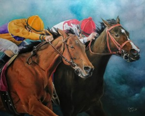 Showing the fighting spirit of 2 amazing thoroughbred race horses.